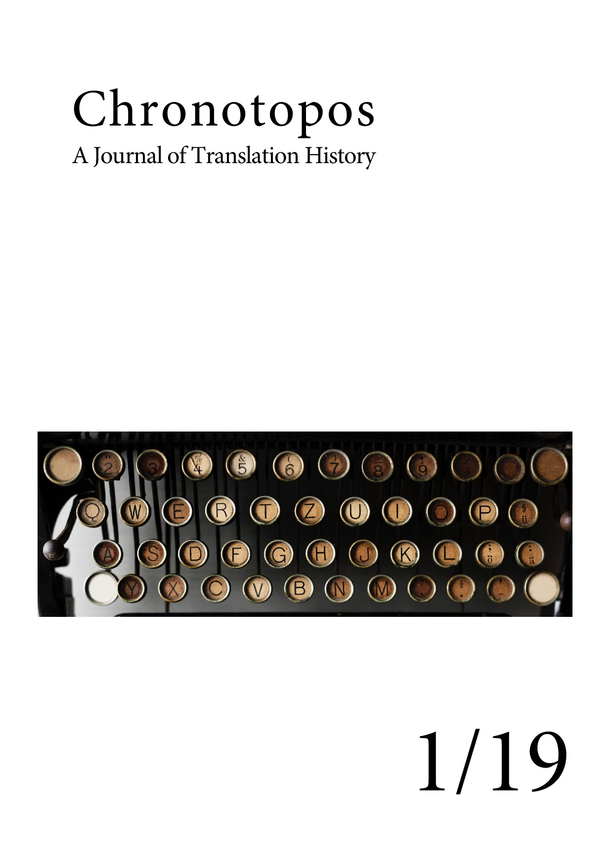 cover of first issue of chronotopos, a journal of translation history